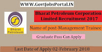 Bharat Petroleum Corporation Limited Recruitment 2017
