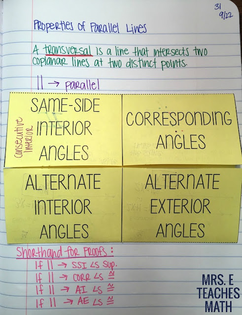 Parallel Lines and Transversals Angle Pairs Foldable for geometry interactive notebooks
