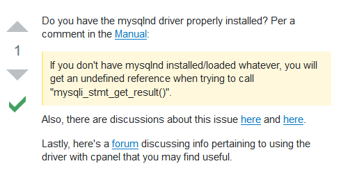 Masalah PHP Fatal error:  Call to undefined function mysqli_stmt_get_result()