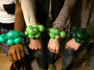 A Close Up Picture of the Ninja Turtle Bracelet Balloons