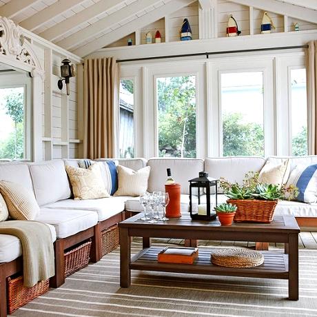 coastal cottage decor with pops of orange