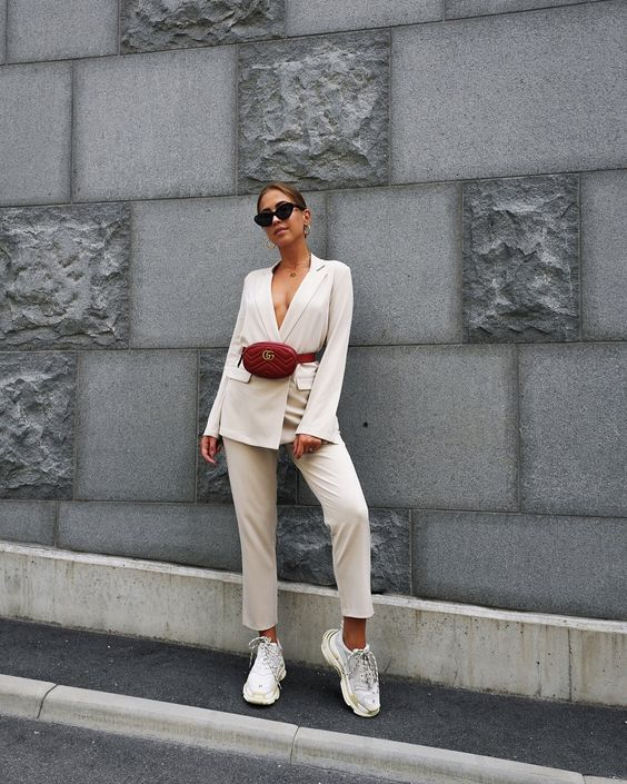 Kenza Z White Suit Gucci Marmont Belt Bag, Balenciaga Triple S Low Top Sneakers