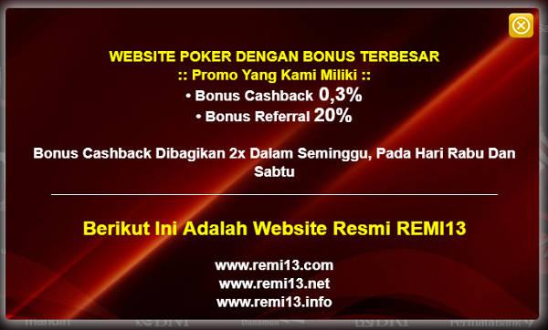 Bonus di Remi13 Agen Sakong Judi BandarQ Capsa Susun Bandar Poker Online Indonesia