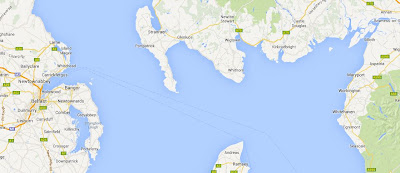 A Google map snip showing the coasts of Cumbria, southern Scotland, eastern Northern Ireland and the top of the Isle of Man