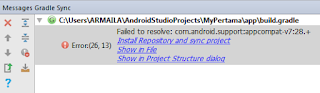 Cara Memperbaiki Failed to resolve com.android.supportappcompat-v728.+ error(26, 13)