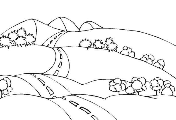 Sketsa Mewarnai Gambar Pemandangan Gunung Mewarnai Gambar