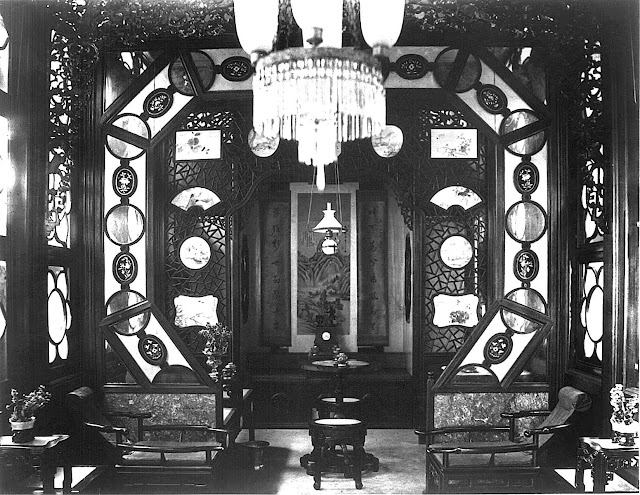An interior photograph of a pleasure-boat opium room, 1920s?