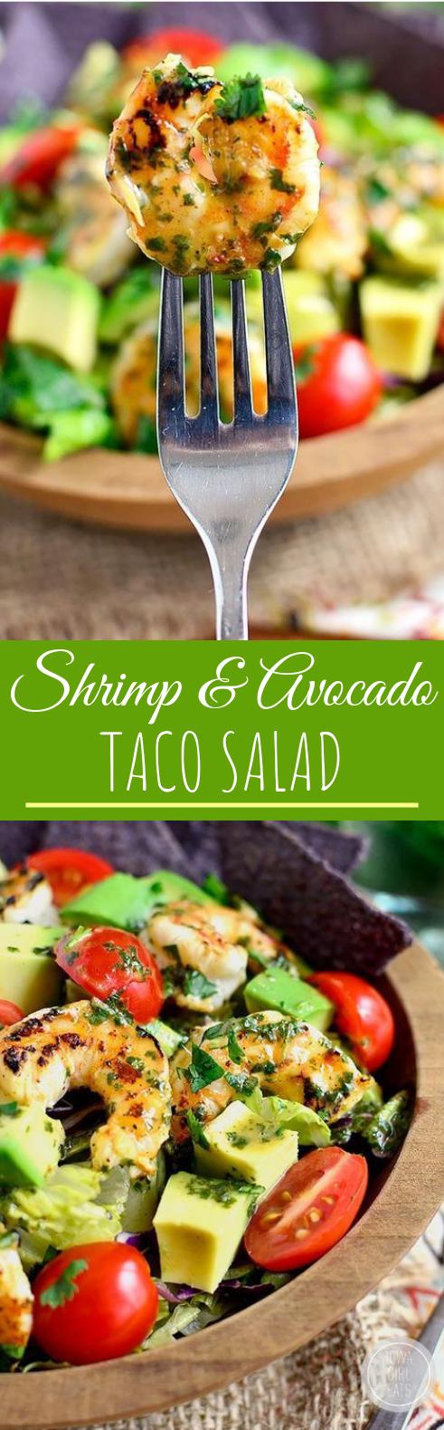 Shrimp and Avocado Taco Salad #healthy #salad