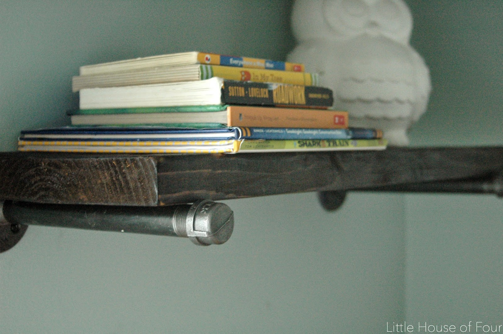 Books styles on wood and pipe wall shelf