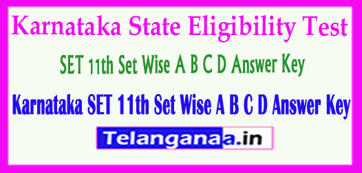 Karnataka SET 11th Set Wise A B C D State Eligibility Test 2018 Answer Key  Download