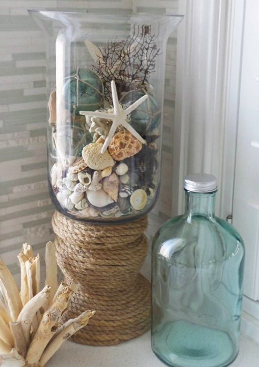 Tall Glass Cylinder Rope Vase