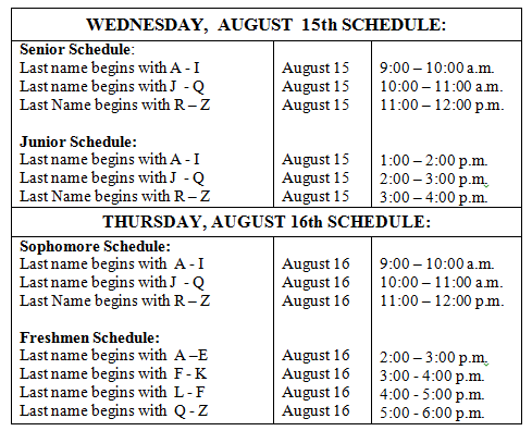 Table with orientation schedule