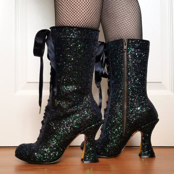 black glitter calf boots with satin ribbon laces