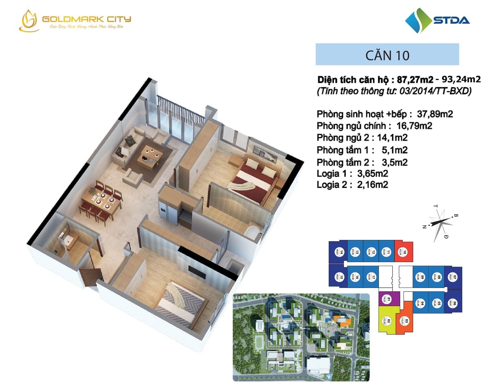 Mặt bằng căn hộ số 10 Ruby 2- Goldmark City 136 Hồ Tùng Mậu