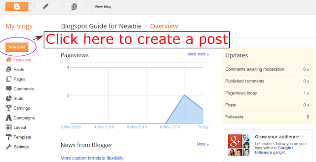 Click New Post to create a post in Blogspot
