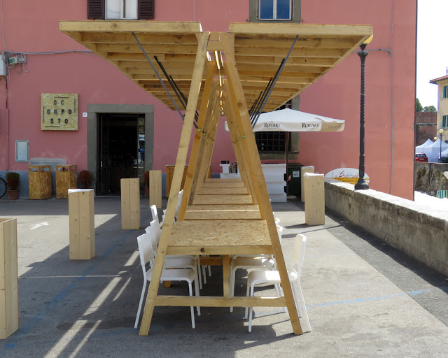 Strange tables in Piazza dei Domenicani, Livorno