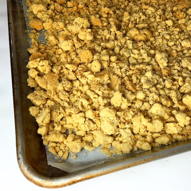 Tray of Baked Vanilla Polenta Oatmeal Streusel