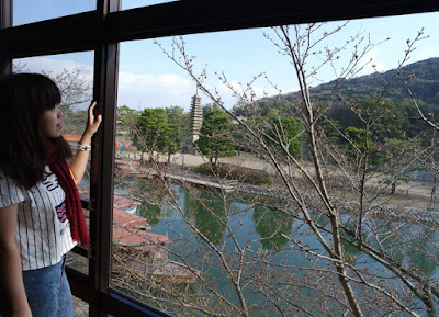 The view from inside Botan Room at Hanayashiki Ukifuneen Kyoto Japan