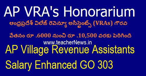 AP Village Revenue Assistants Salary Enhanced GO 303 -VRA's Honorarium Increased Order