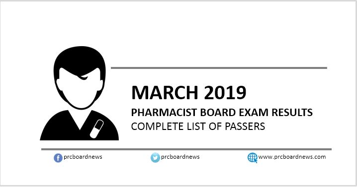 LIST OF PASSERS: March 2019 Pharmacist board exam result