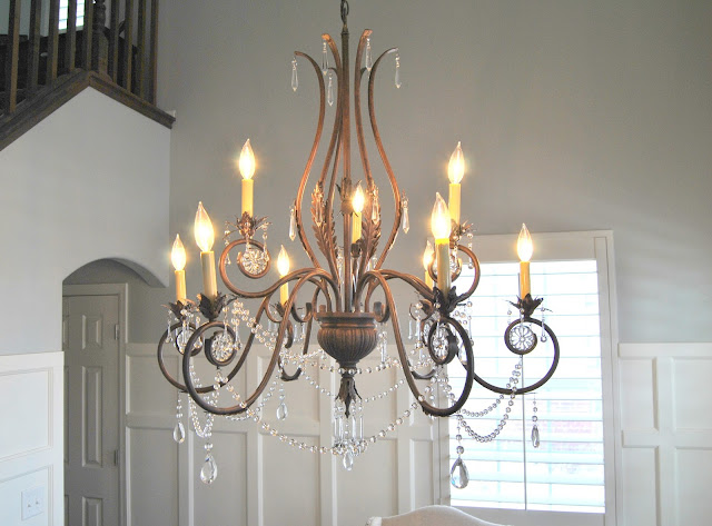 chandelier, dining room, board and batten