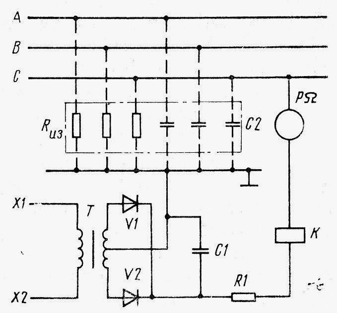 Схема контроля сопротивления изоляции трехфазной сети