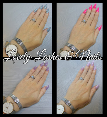 Foto van handen met gellak en gelcolor nagellak op https://www.lovelylashesnails.nl/p/gelcolor-nagellak.html . Hierop zijn verschillende kleuren nagellak en nailart te zien