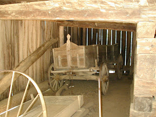 An old hauling wagon in the cantilever barn above.