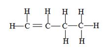 alkene structure, structure of 1- butene, butene