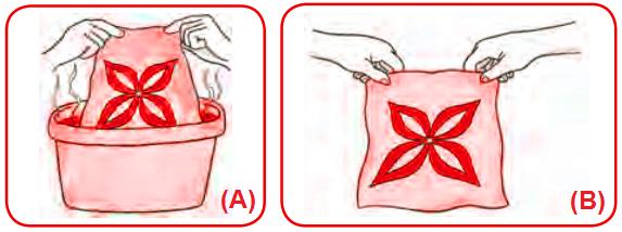 Gambar Mencelupkan kain kedalam air panas dan hasil pewarnaan