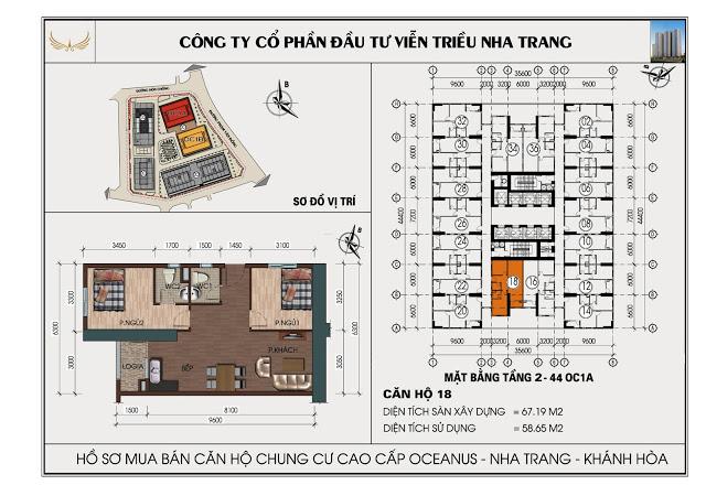 Sơ đồ căn hộ số 18 tòa OC1A Viễn Triều Nha Trang