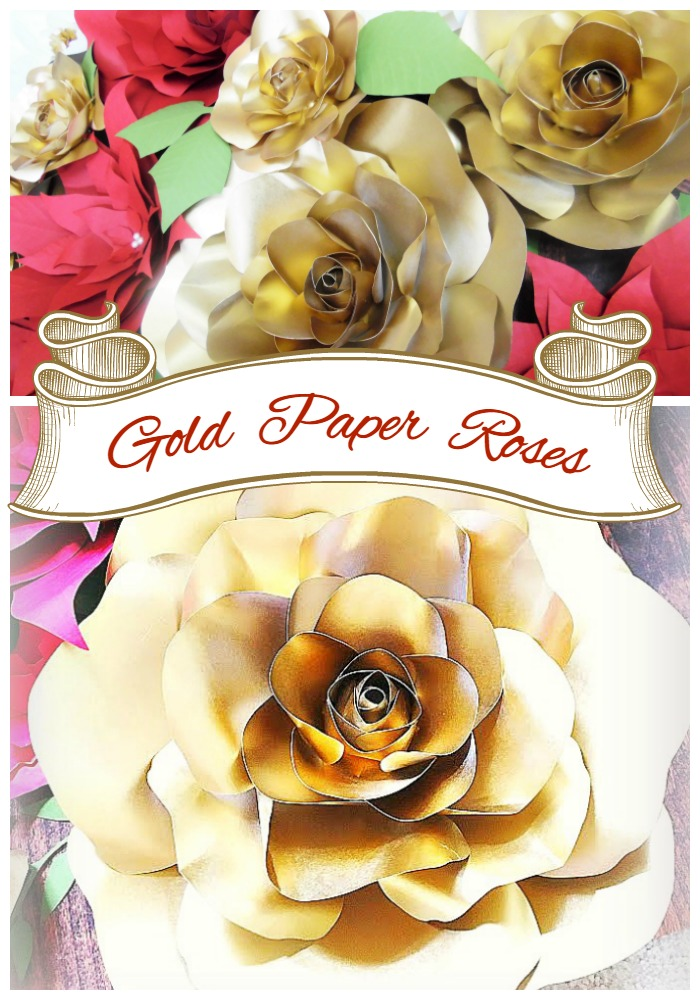 Gold paper flowers golden christmas inspirations catching colorlfies golden christmas inspirations diy gold roses holiday decor ideas diy mightylinksfo