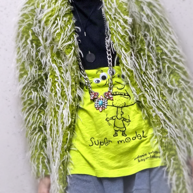 Melanie Kobayashi, Bag and a Beret, farked T-shirt and necklace, bathmat coat