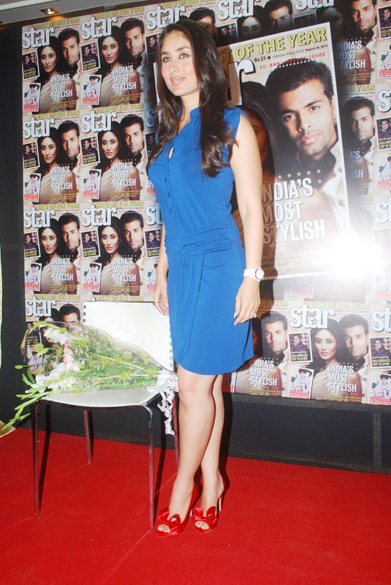 Kareena Kapoor Hot Thigh Legs Show Photos In Blue Mini Dress