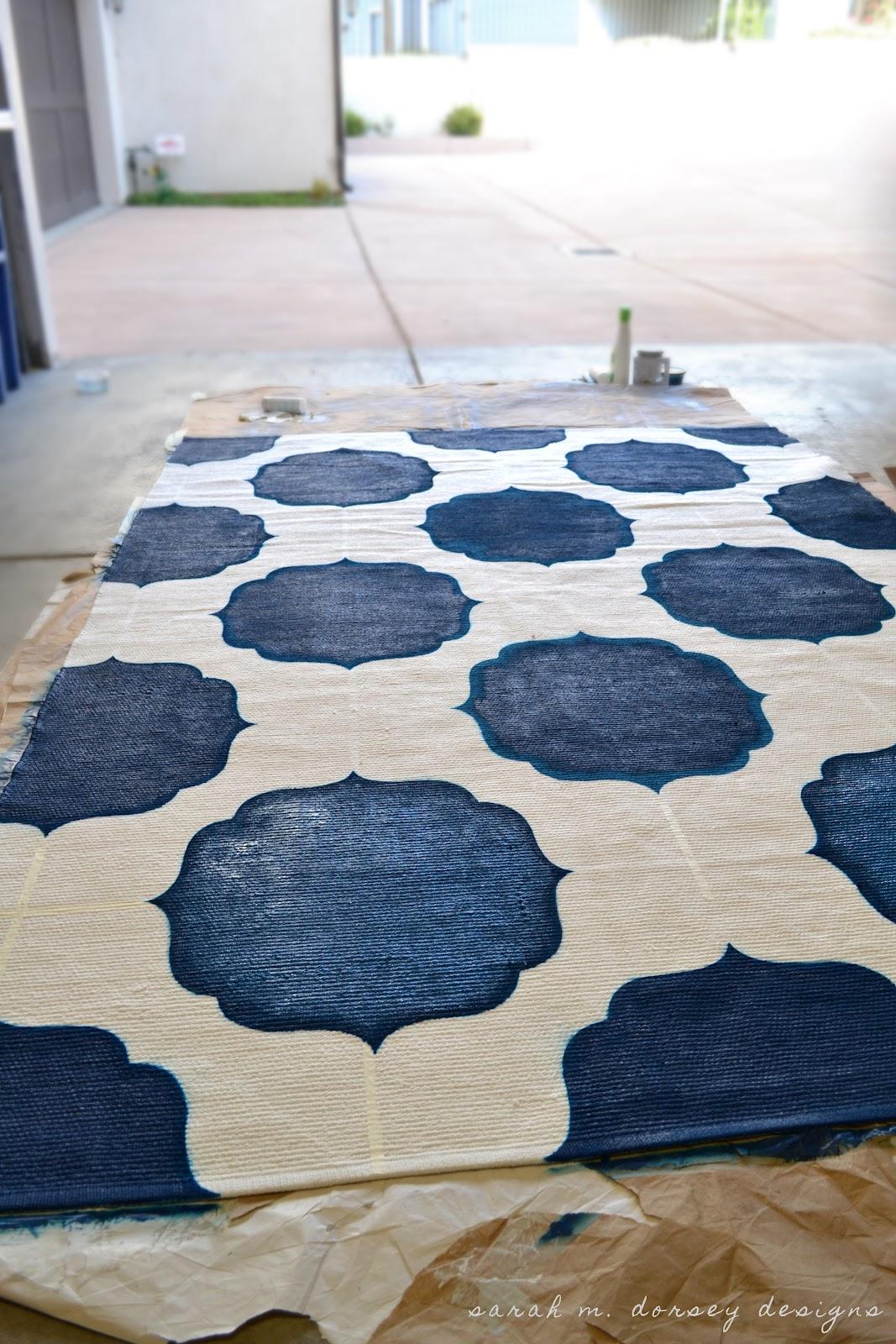 Remodelaholic | Moroccan Stenciled Rug DIY