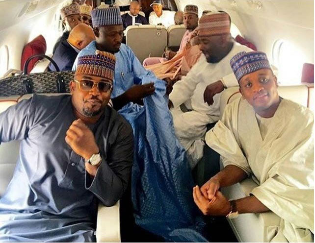 Read the deep caption behind photo of Zahra Buhari's hubby and other billionaires inside a private jet