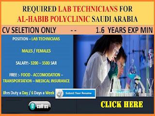 Urgently Required Lab Technicians For AL-Habib Polyclinic Saudi Arabia