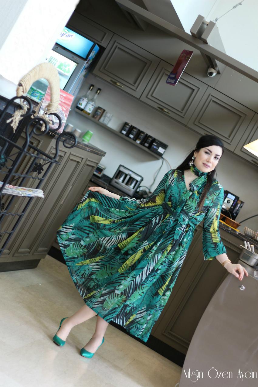 Tropik Desenli Yeşil Şifon Elbise-alışveriş-moda blogu-fashion blogger
