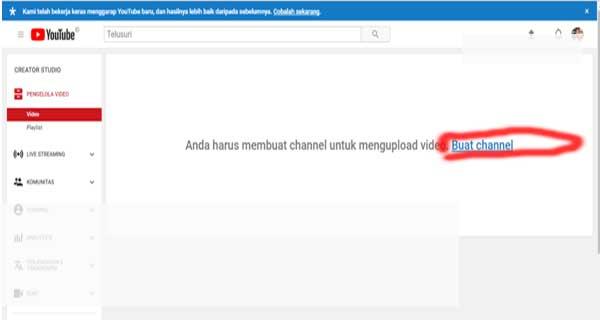 cara membuat youtube channel
