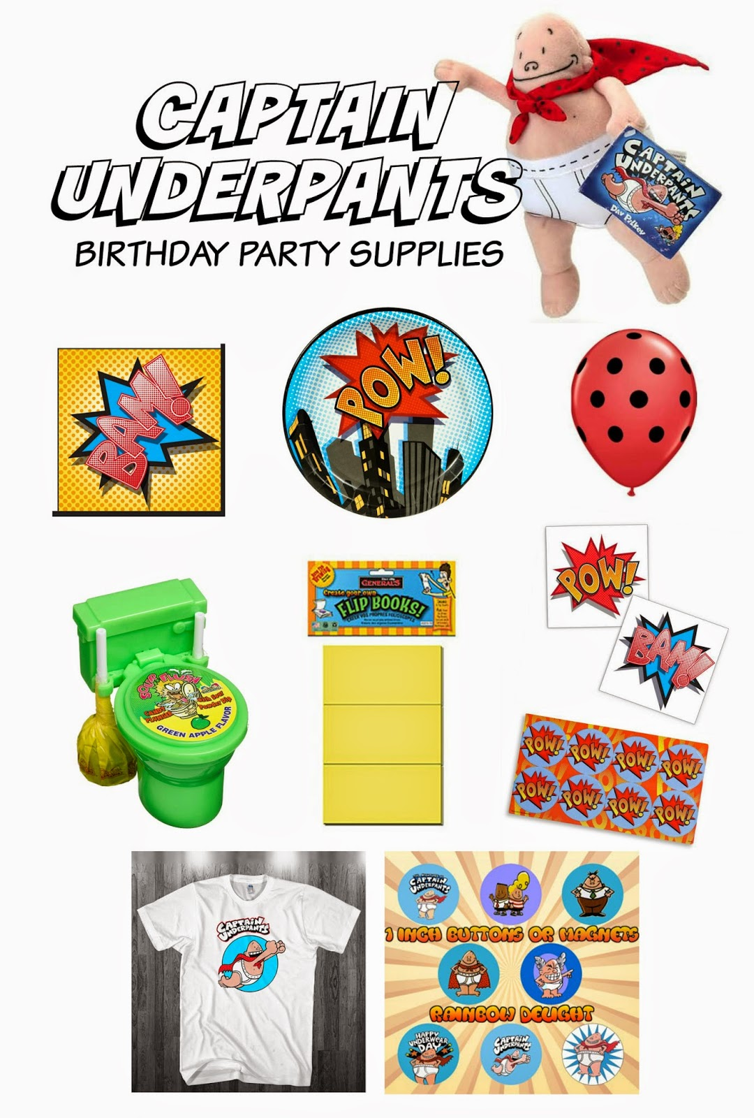 Captain Underpants Birthday Party Supplies