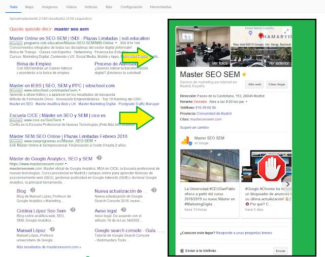 La tarjeta de tu negocio aparecerá en la parte derecha de la pantalla de los resultados de búsquedas.