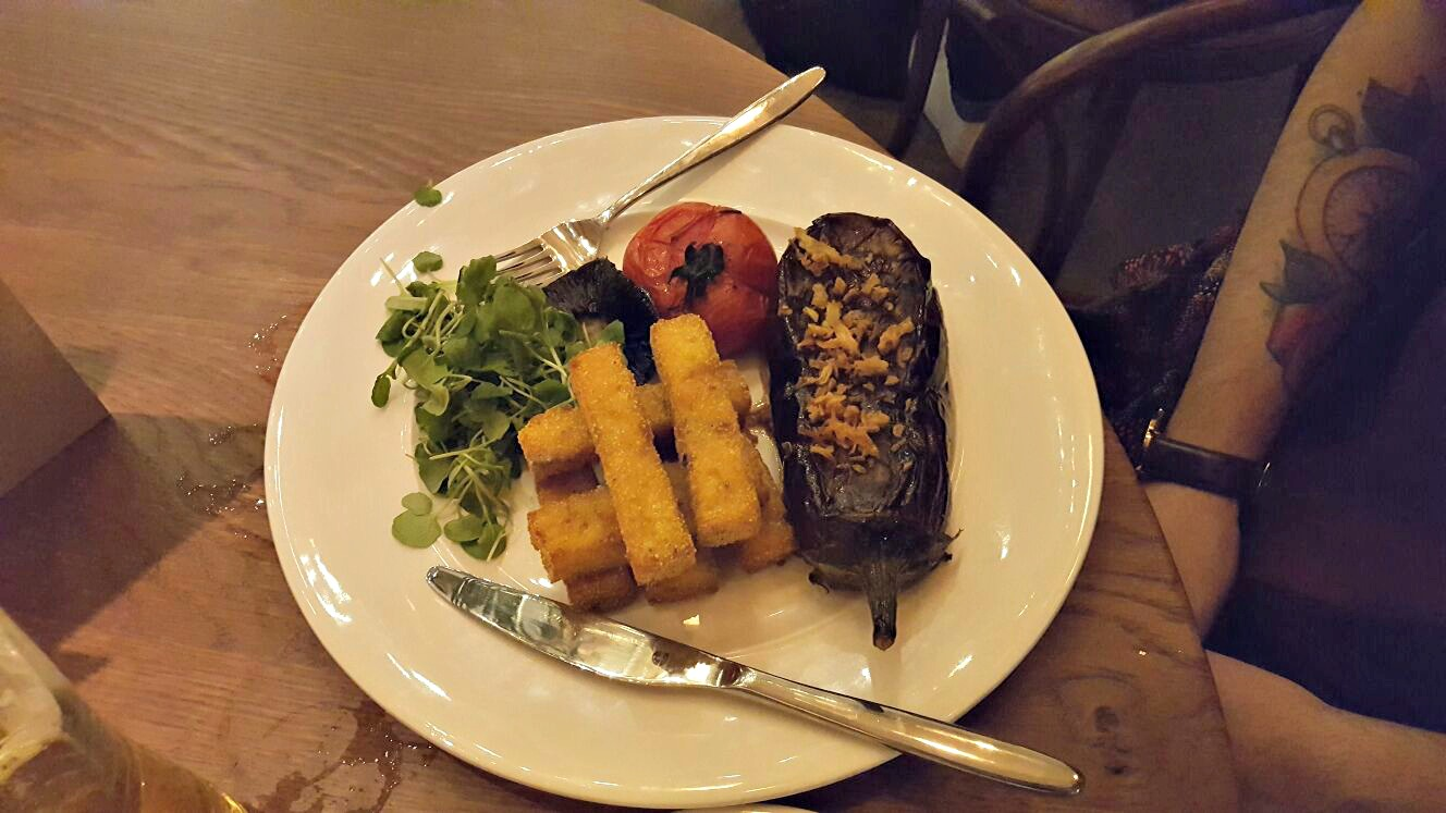 Sweet Sour Aubergine Steak Polenta Chips Roasted Tomato Mushroom