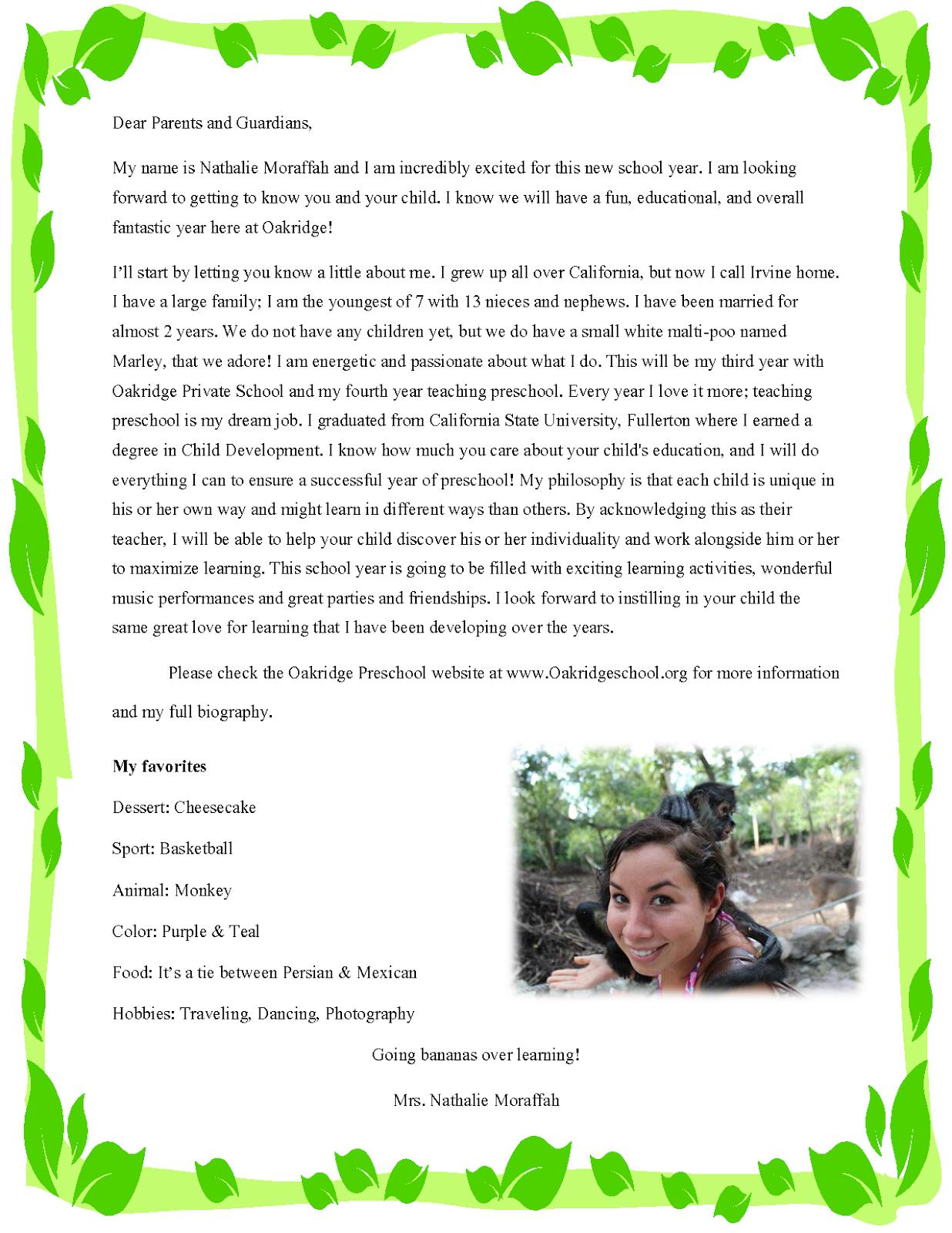 Sample Letters to Parents - Meet the teacher letter for parents