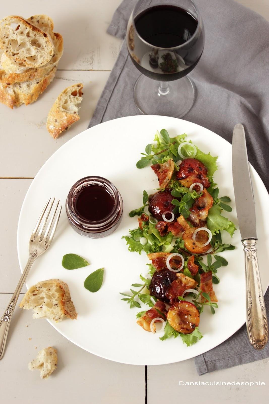 dans la cuisine de sophie ventr che prunes miel au vin rouge en salade. Black Bedroom Furniture Sets. Home Design Ideas