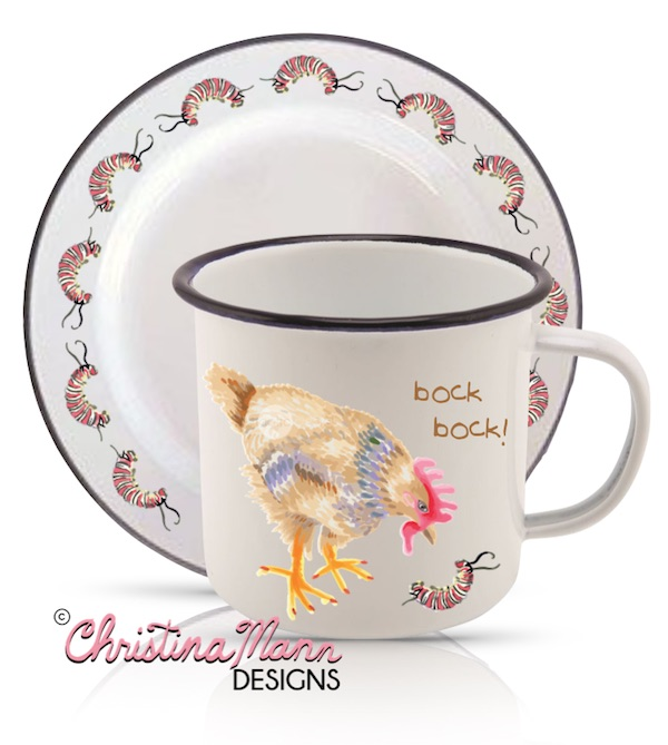 Chicken eyes Caterpillar enamel mug and saucer set by Christina Mann Designs