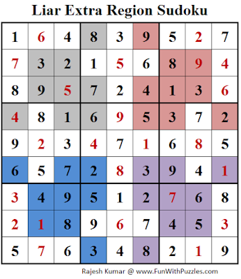 Liar Extra Region Sudoku Puzzle (Daily Sudoku League #189) Solution