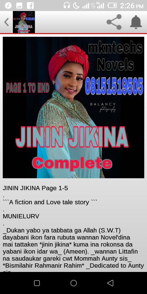 Gidan Technology Da Media : Download JININ JIKINA Complete Hausa Novel