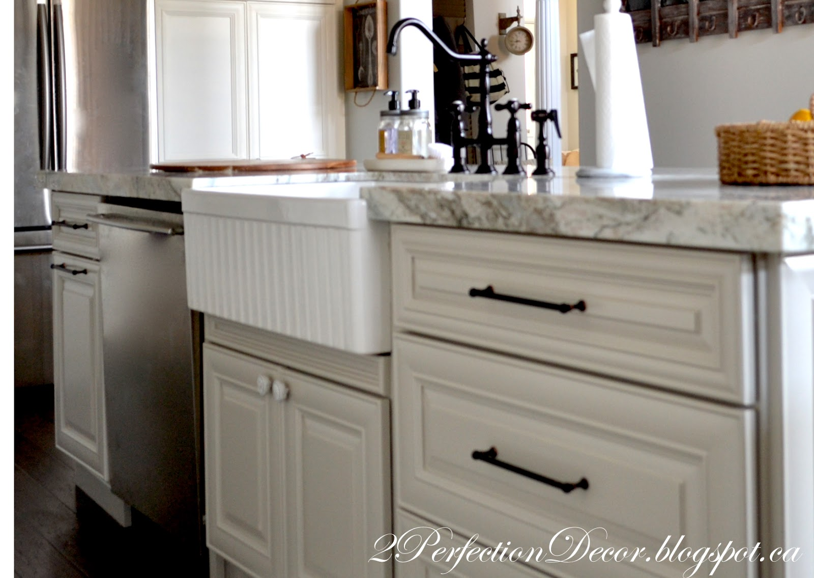 2perfection decor farmhouse kitchen reveal we stuck with the oil rubbed bronze for all of the hardware we re used our faucet from previous kitchen as it was fairly new and we loved the style