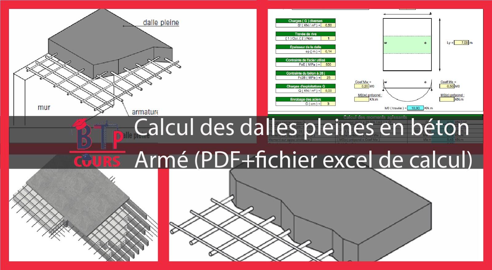 calcul des dalles pleines en b ton arm pdf fichier excel. Black Bedroom Furniture Sets. Home Design Ideas