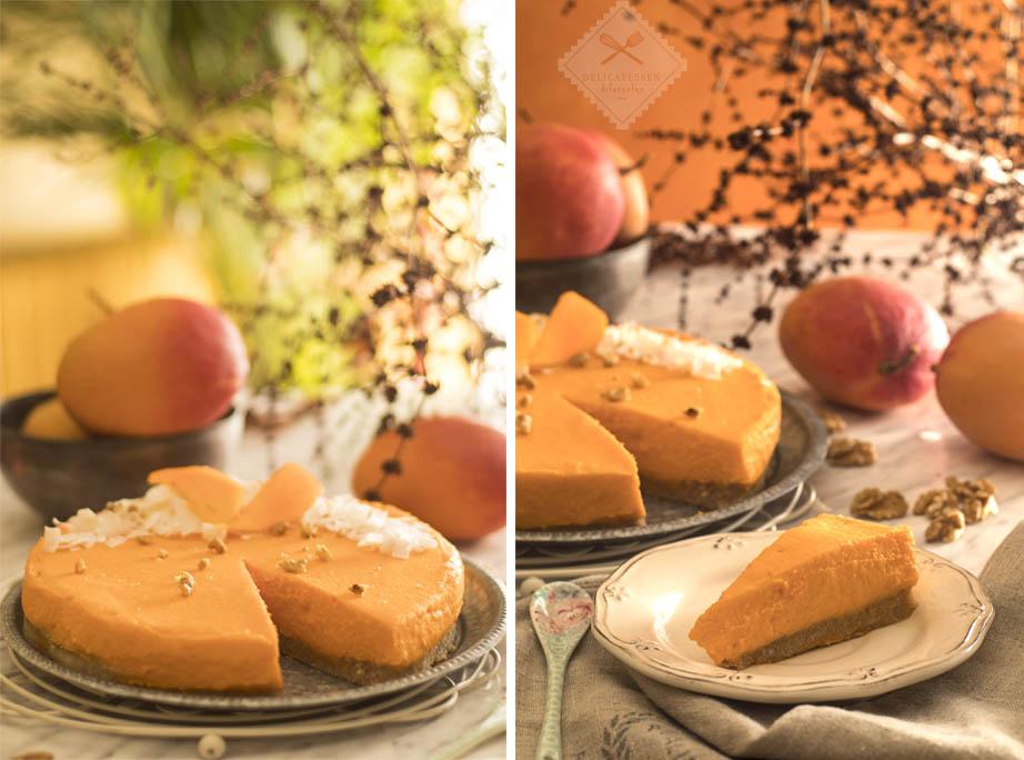 tarta crudivegana de mango y nueces